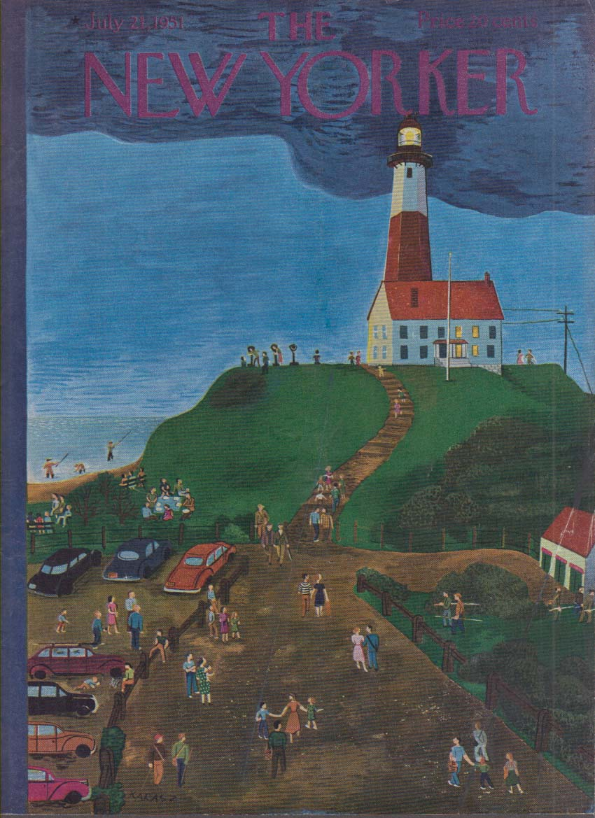New Yorker cover Karasz tourists & lighthouse 7/21 1951