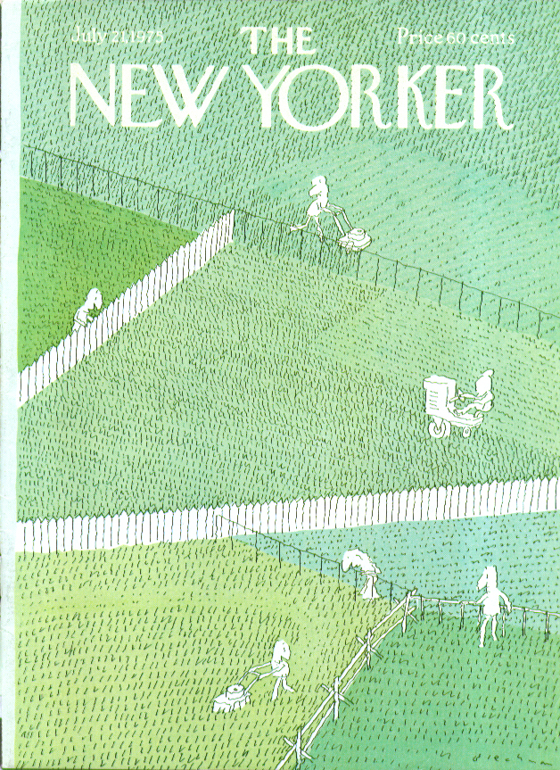 New Yorker cover Blechman grass is greener 7/21 1975