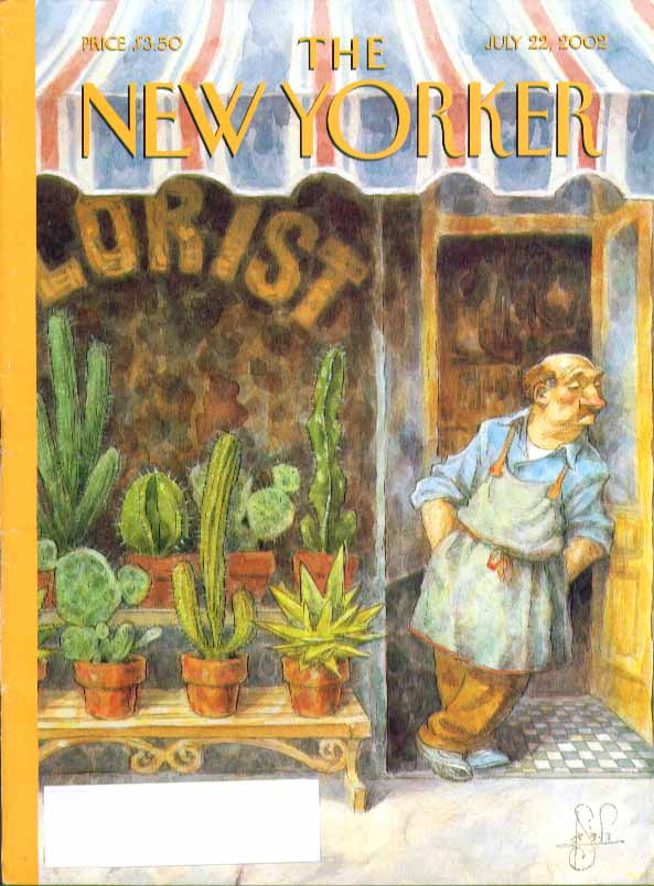 Image for New Yorker cover Peter De Seve florist awaits cactus customers 7/22 2002