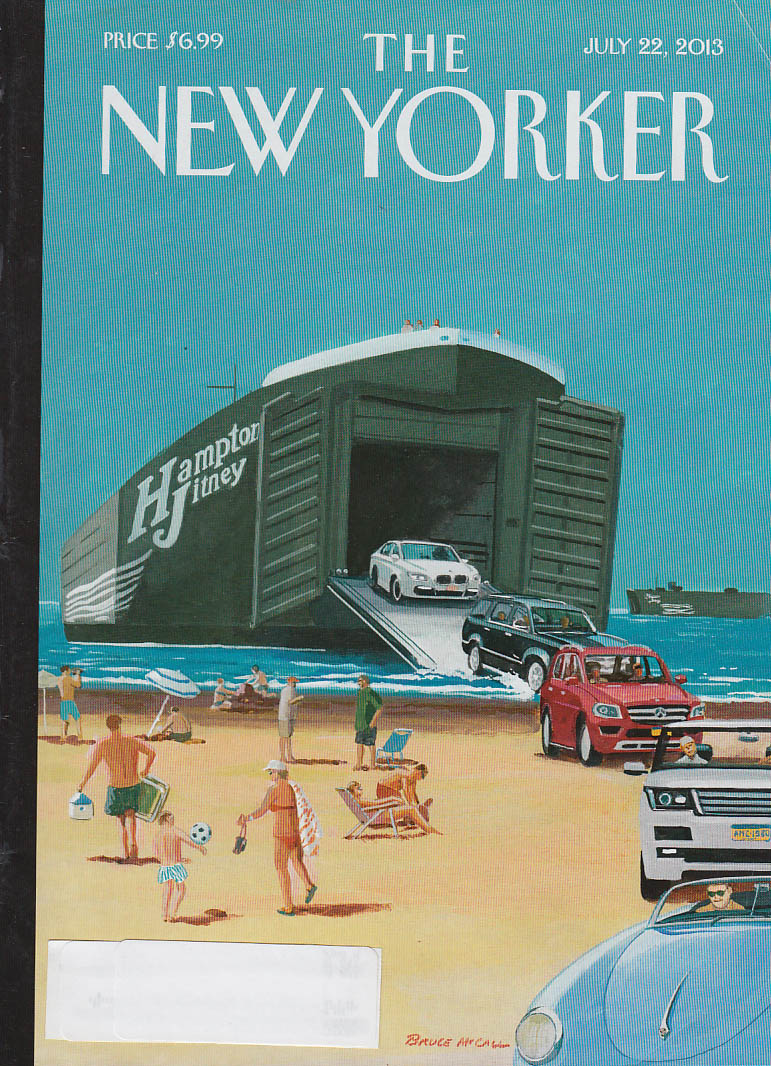 New Yorker cover 7/22 2013 McCall: foreign cars off Hampton Jitney landing craft