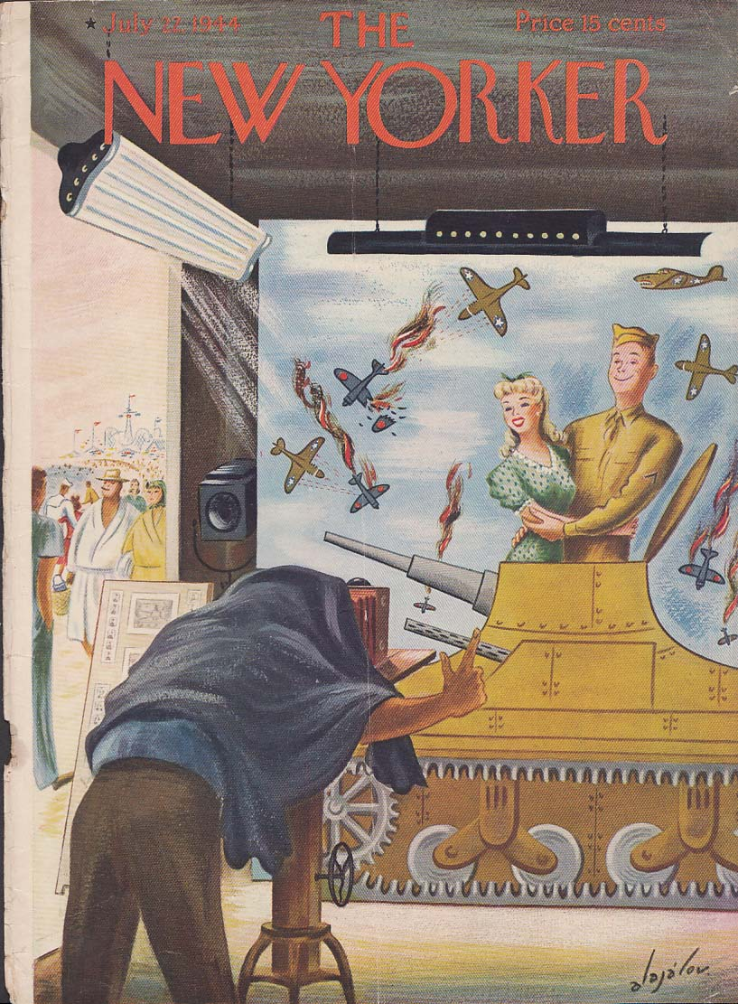 New Yorker cover Alajalov soldier girl posing 7/22 1944