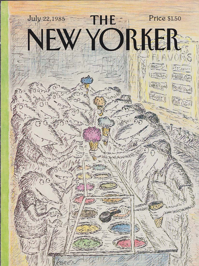 New Yorker cover 7/22 1985 Koren odd birds in the ice cream parlor