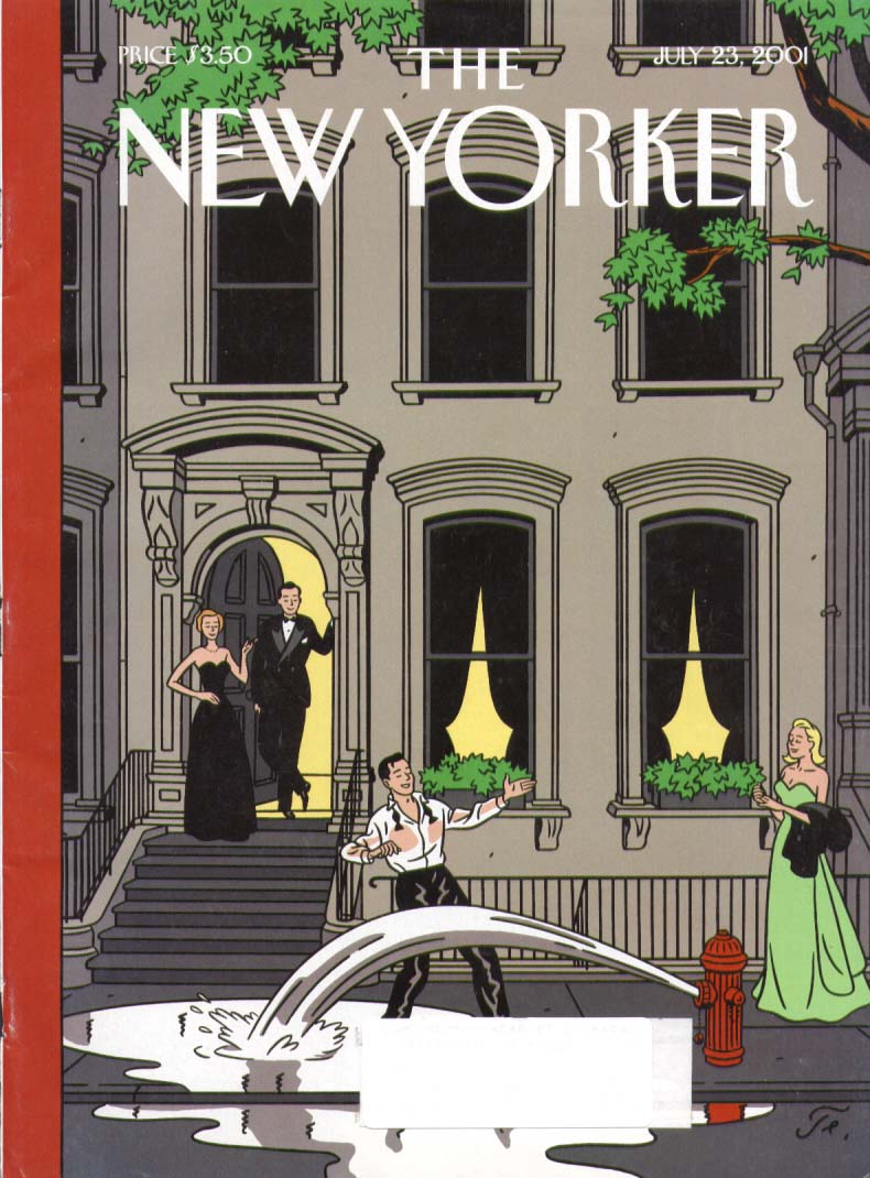 New Yorker cover brownstone hydrant shower 7/23 2001