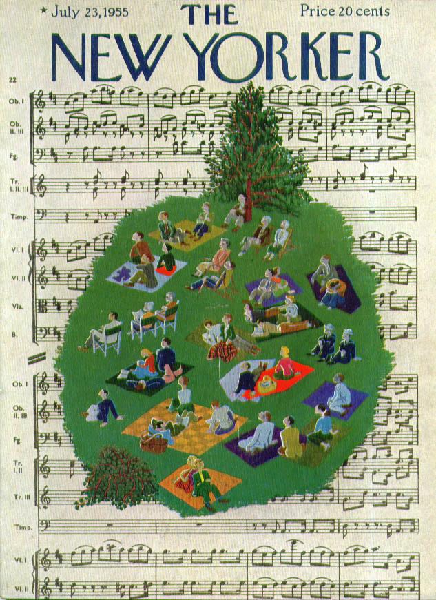 New Yorker cover Karasz lawn on music sheet 7/23 1955