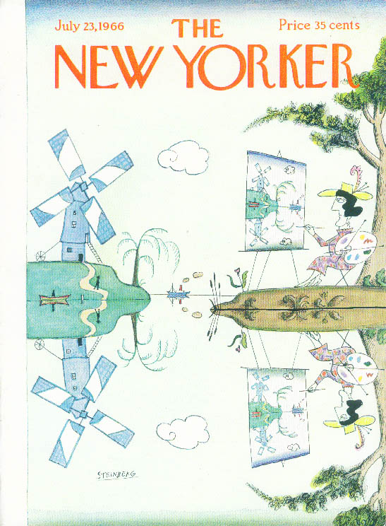 New Yorker cover Steinberg lady paints windmill mirrored in water 7/23 1966