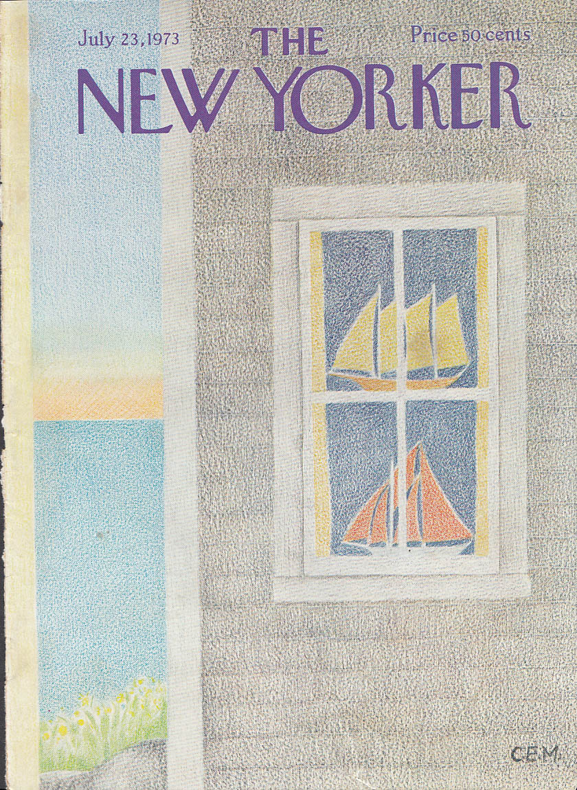 Image for New Yorker cover Martin sailboats in window 7/23 1973