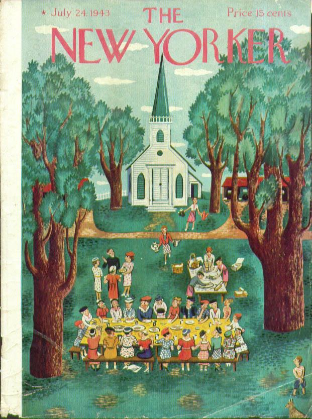 New Yorker cover Karasz outdoor church lunch  7/24 1943