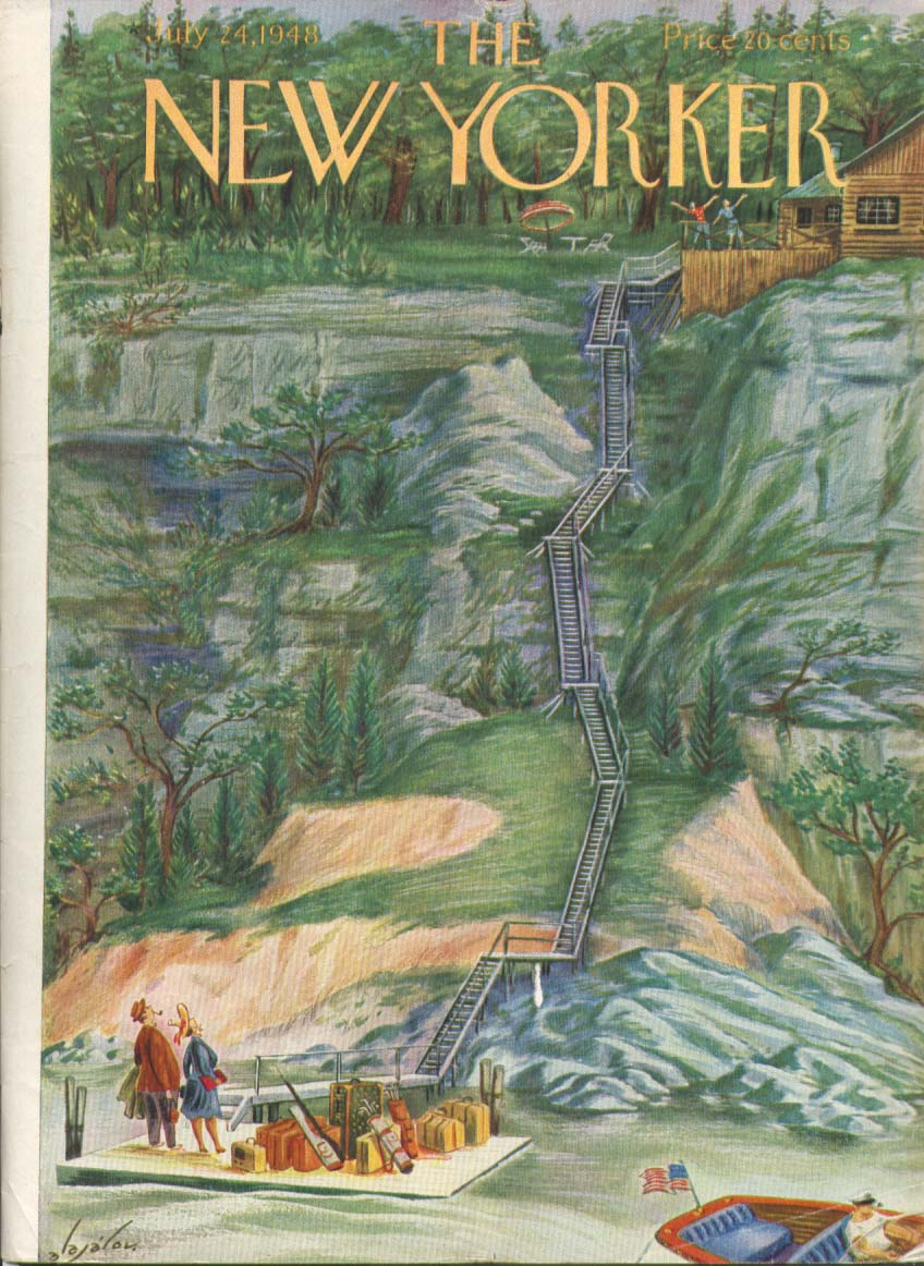 New Yorker cover Alajalov steep way to cabin 7/24 1948