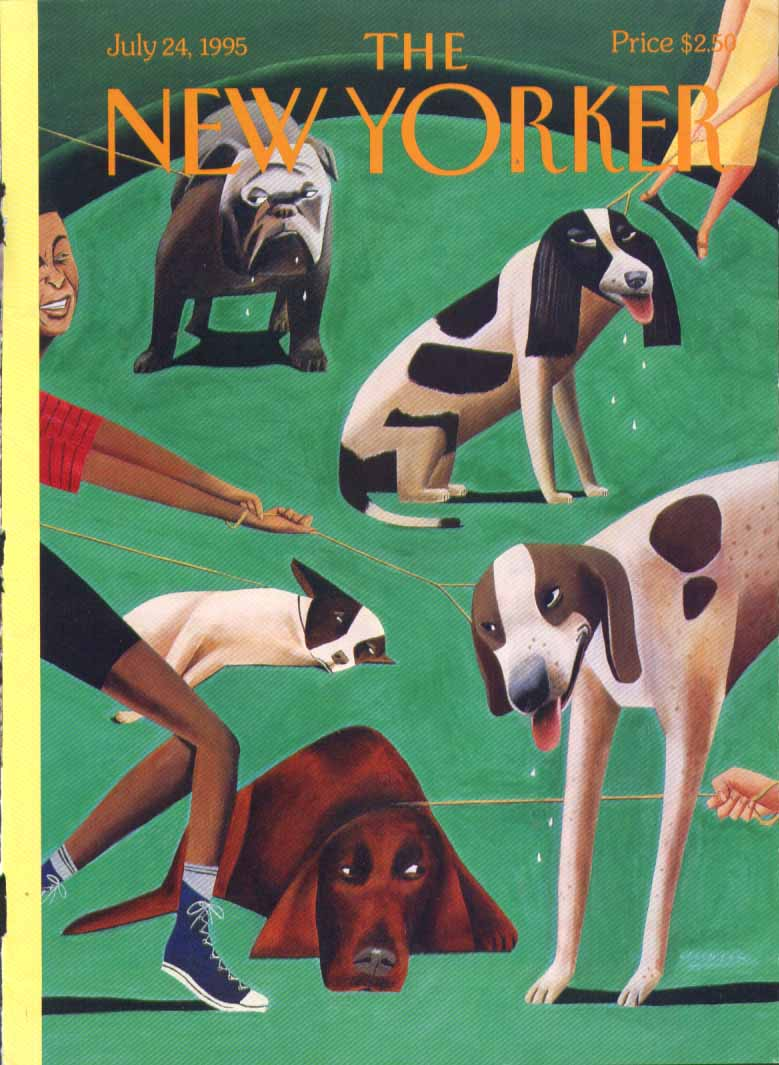 New Yorker cover Ulriksen drooling park dogs 7/24 1995