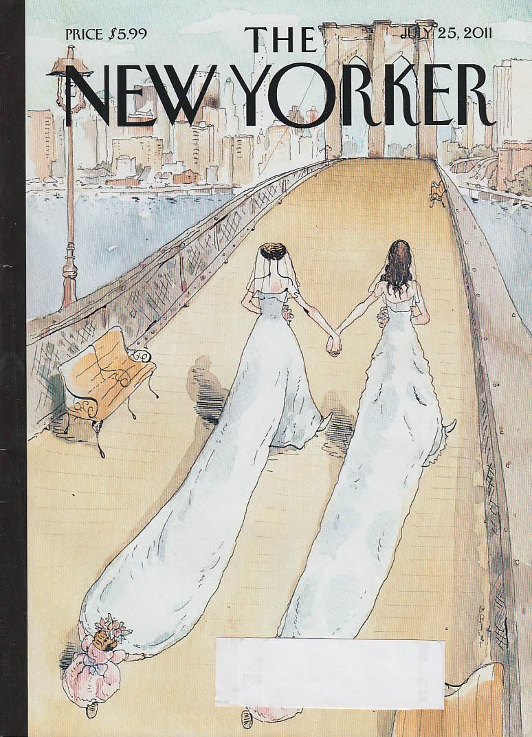 New Yorker cover 7/25 2011 Blitt: lesbian newlyweds cross Brooklyn Bridge