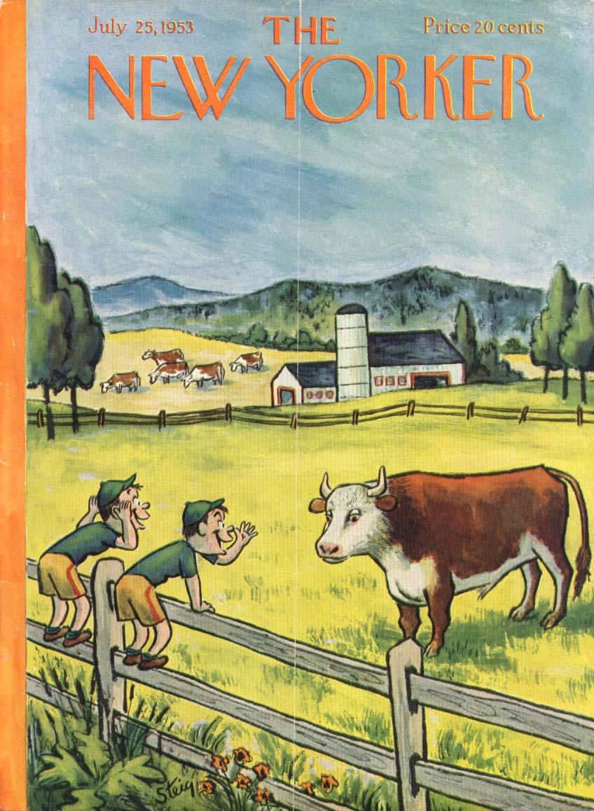 New Yorker cover Steig boys teasing bull 7/25 1953