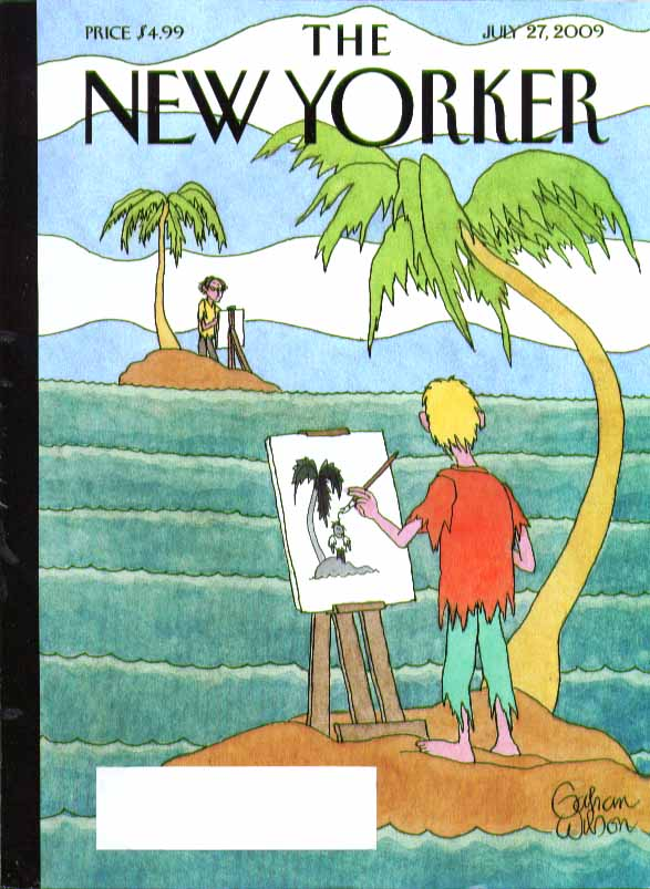 Image for New Yorker cover Gahan Wilson 2 marooned artists draw each other 7/27 2009