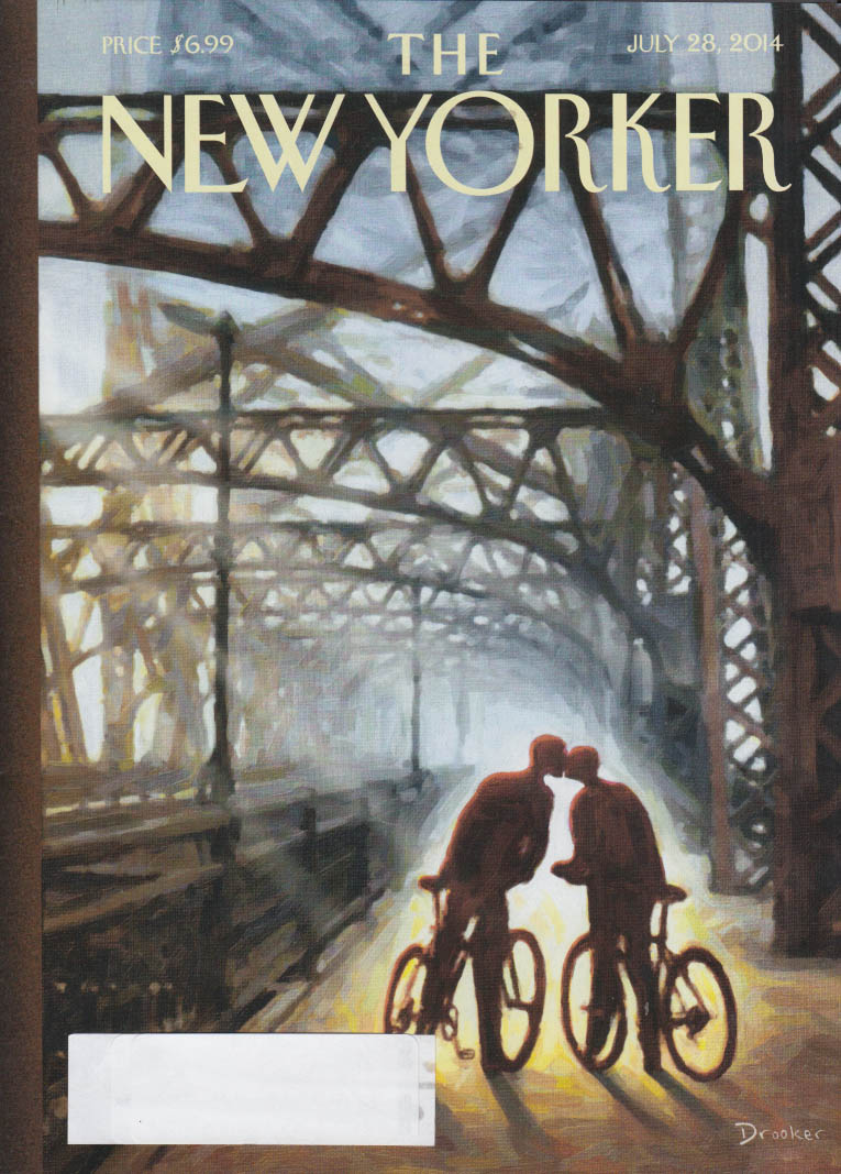 New Yorker cover 7/28 2014 Drooker bicycling couple kiss on bridge bikeway
