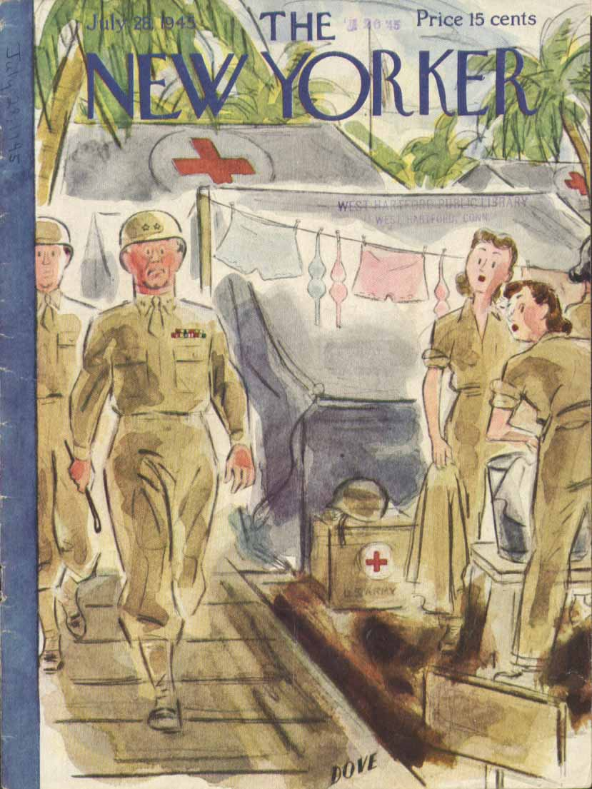 New Yorker cover Dove General visit WAC camp 7/28 1945