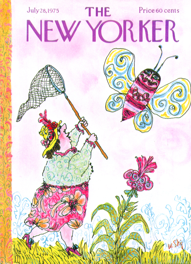 New Yorker cover Steig woman chases butterfly 7/28 1975