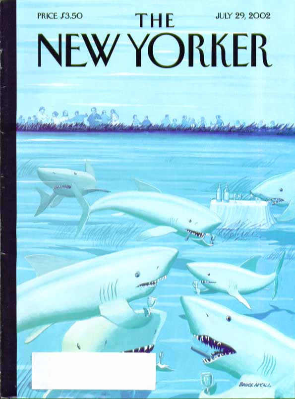 New Yorker cover Bruce McCall shark cocktail hour before bather feast 7/29 2002