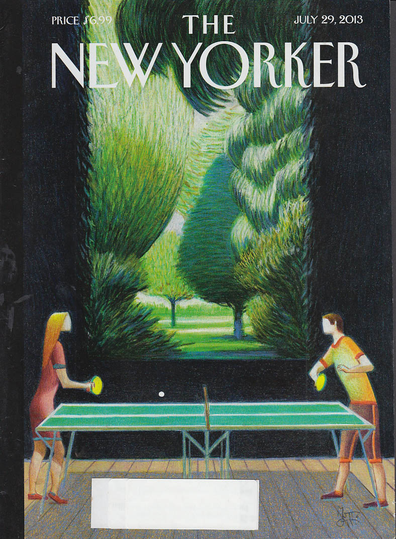 New Yorker cover 7/29 2013 Ott: table tennis on manicured grounds