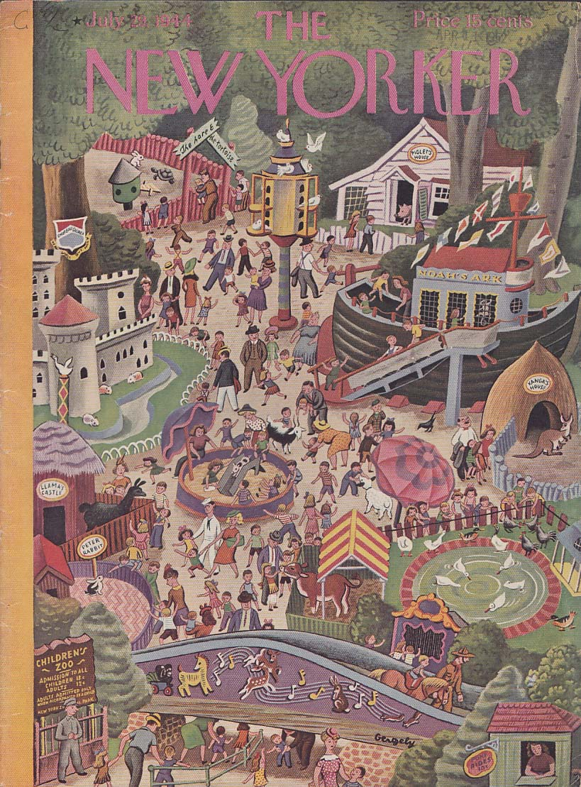 New Yorker cover 7/29 1944 Gergely the children's zoo panorama