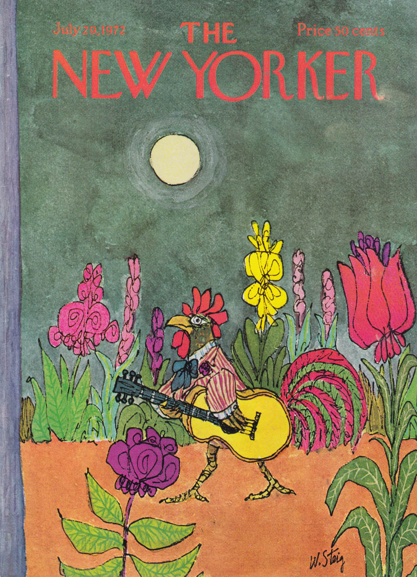 New Yorker cover 7/29 1972 W Steig rooster plays guitar through flower bed