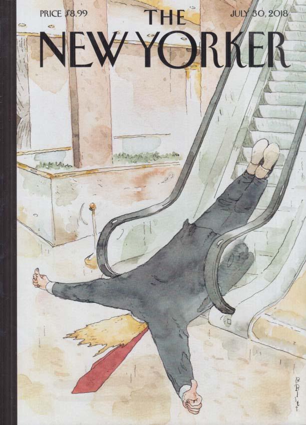 New Yorker cover 7/30 2018 Blitt: Trump flat on his face at escalator bottom
