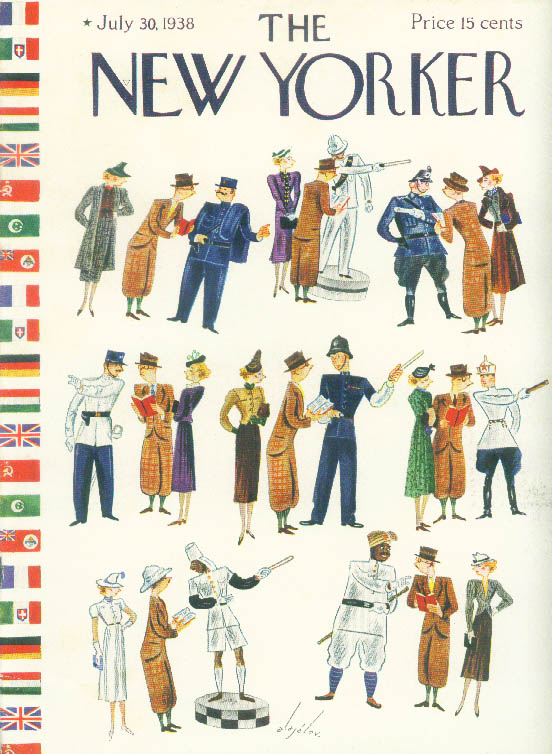 New Yorker cover Alajalov tourists asking directions from foreign cops 7/30 1938