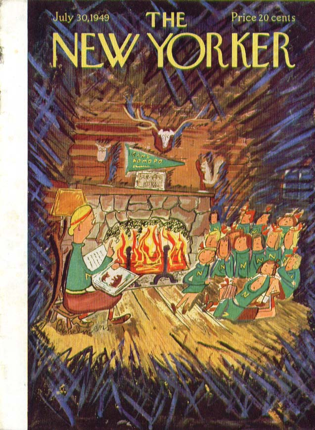 New Yorker cover Bemelmans Campers fireplace 7/30 1949
