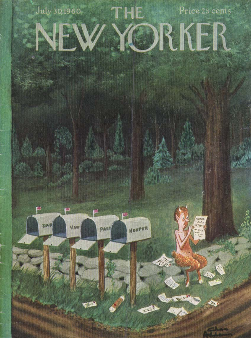 New Yorker cover Addams Pan raids mailboxes 7/30 1960
