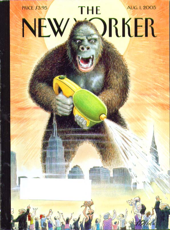 New Yorker cover Bliss King Kong sprays hot folks with Super Soaker 8/1 2005