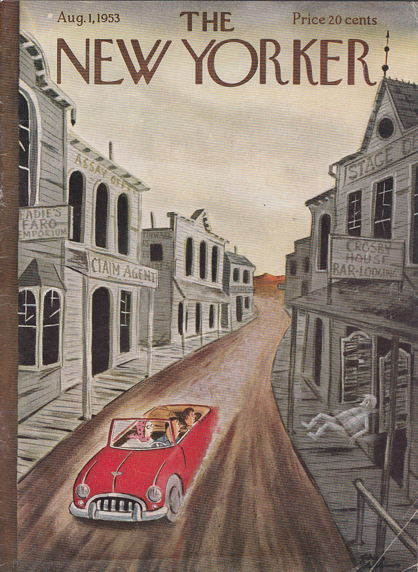 New Yorker cover Addams ghost drunkard thrown 8/1 1953