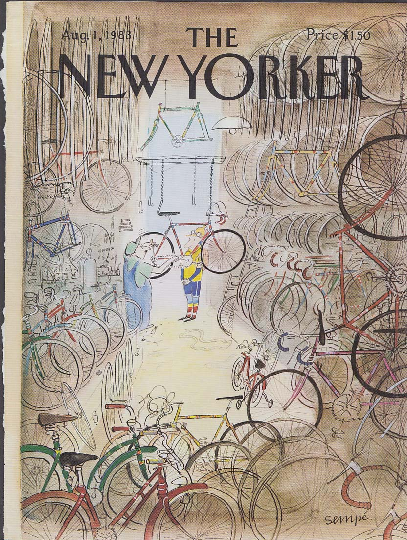 New Yorker cover 8/1 1983 Sempe bicycle shop wih seriously-outfitted rider