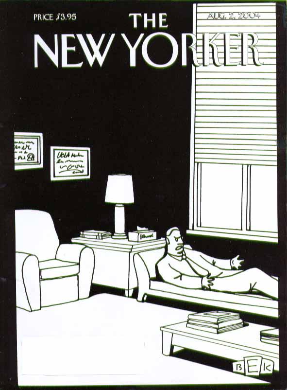 New Yorker cover Bruce Eric Kaplan psychiatrist self-analyzes 8/2 2004