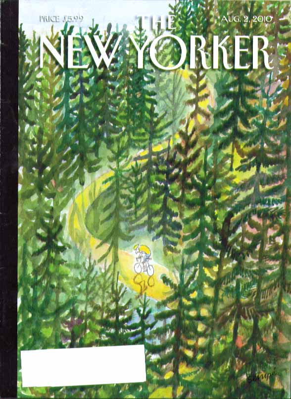 Image for New Yorker cover Jean-Jacques Sempe yellow jersey cyclist thru forest 8/2 2010