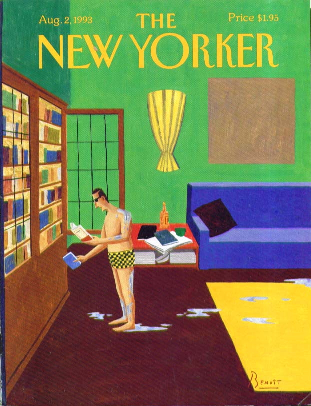 New Yorker cover Benoit Man in his library still wet from the pool 8/2 1993