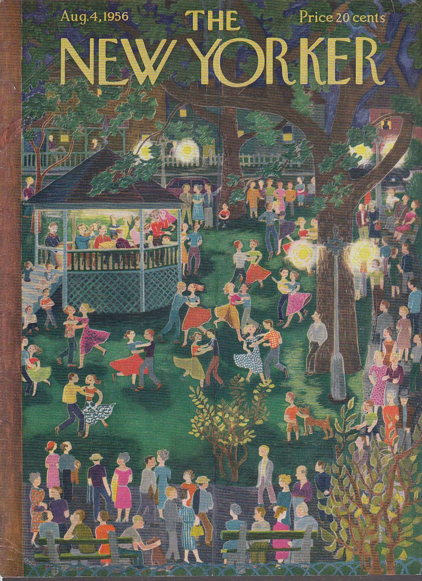 Image for New Yorker cover Karasz town green night dance 8/4 1956