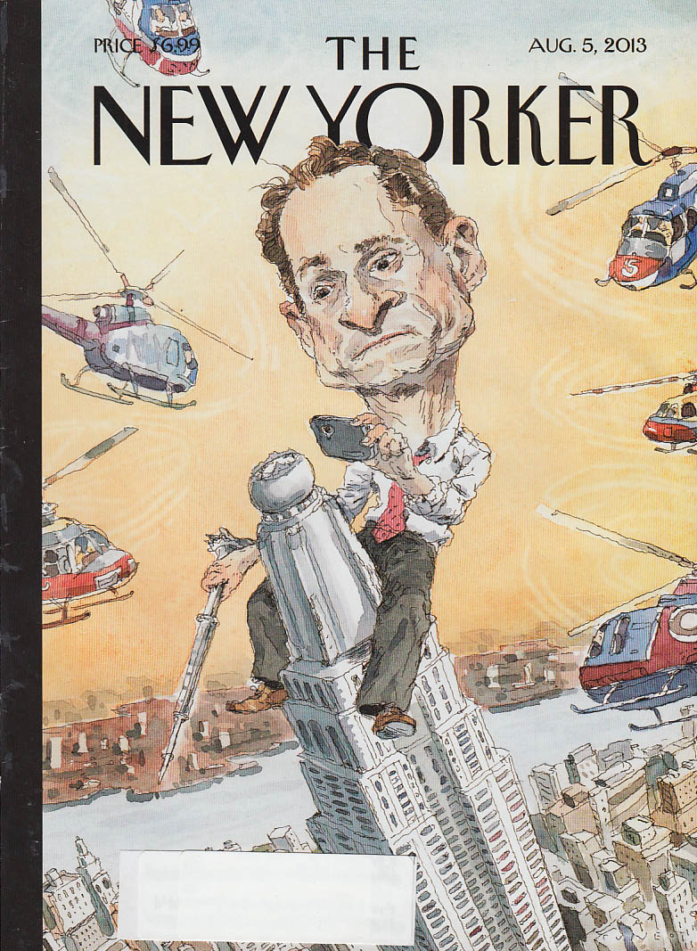 New Yorker cover 8/5 2013 Cuneo: Anthony Weiner as King Kong atop Empire State