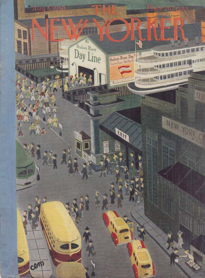 New Yorker cover CEM ferry & day line docks on Hudson 8/5 1950