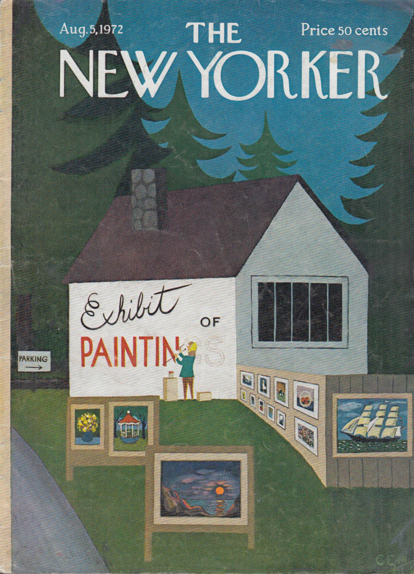 New Yorker cover CEM Artist painting EXHIBIT sign on outside wall 8/5 1972