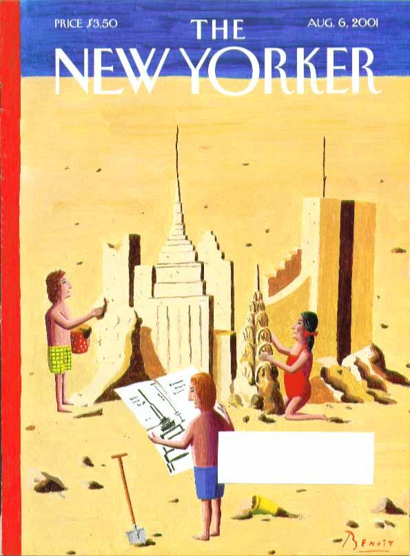 New Yorker cover Benoit van Innis NY skyline abuilding in sand 8/6 2001
