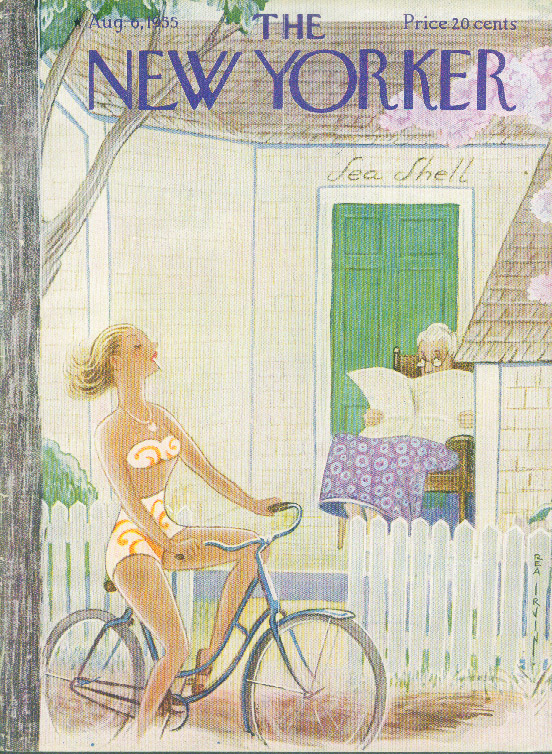 New Yorker cover Irvin bikini girl & old lady 8/6 1955