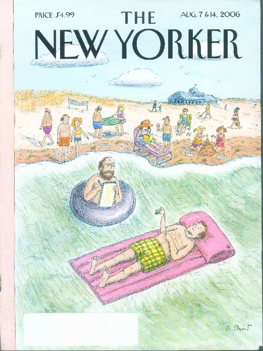 New Yorker cover Chast beach interview tube to air mattress 8/7-14 2006
