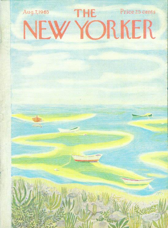 New Yorker cover Karasz low tide skiffs 8/7 1965