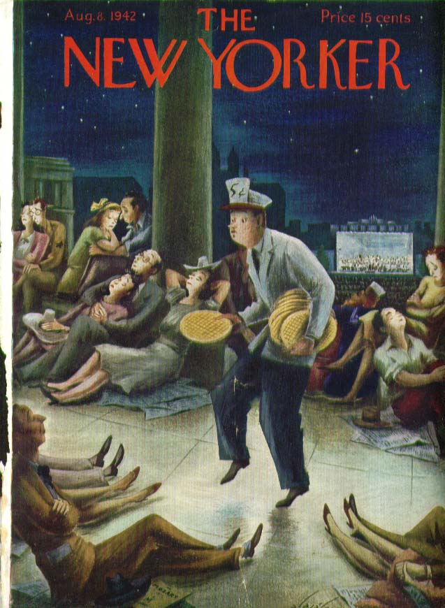 New Yorker cover Alajalov vendor tiptoes 8/8 1942