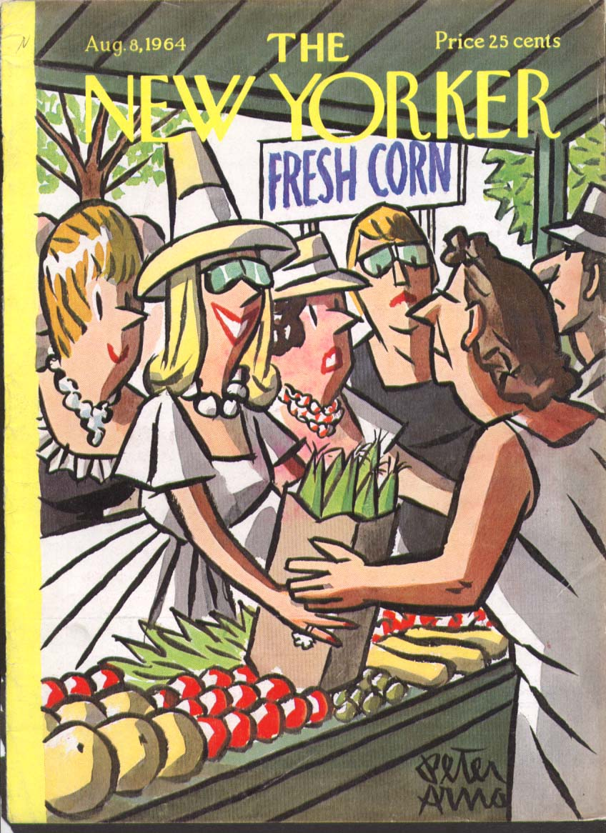 New Yorker cover Arno matrons at produce store 8/8 1964