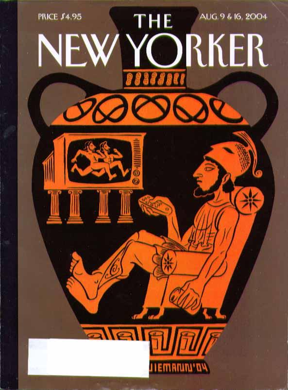 New Yorker cover Christoph Niemann Greek vase figure watches TV 8/9 & 8/16 2004