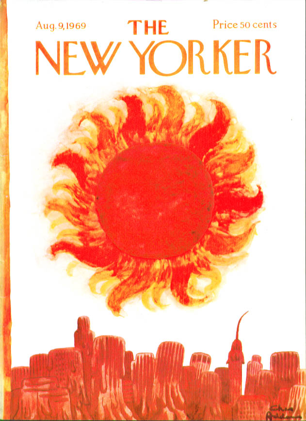 New Yorker cover Addams intense sun melts city skyline 8/9 1969