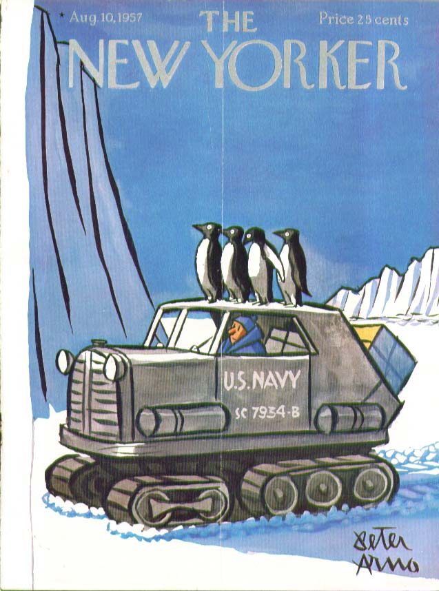 Image for New Yorker cover Arno penguin Antarctic tractor 8/10 1957