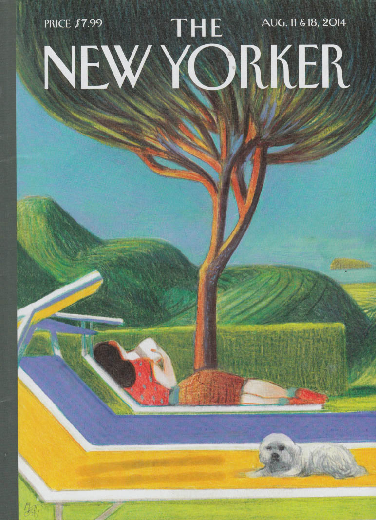 New Yorker cover 8/11-18 2014 Mattiotti: countryside relaxing with book & dog