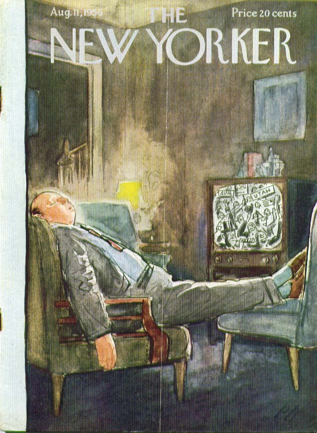 New Yorker cover Barlow asleep in front of TV 8/11 1956