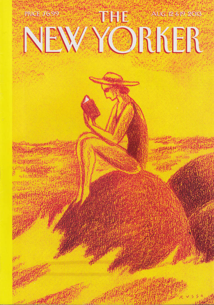 New Yorker cover 8/12-19 2013 Russo: Woman reads book on seaside rock