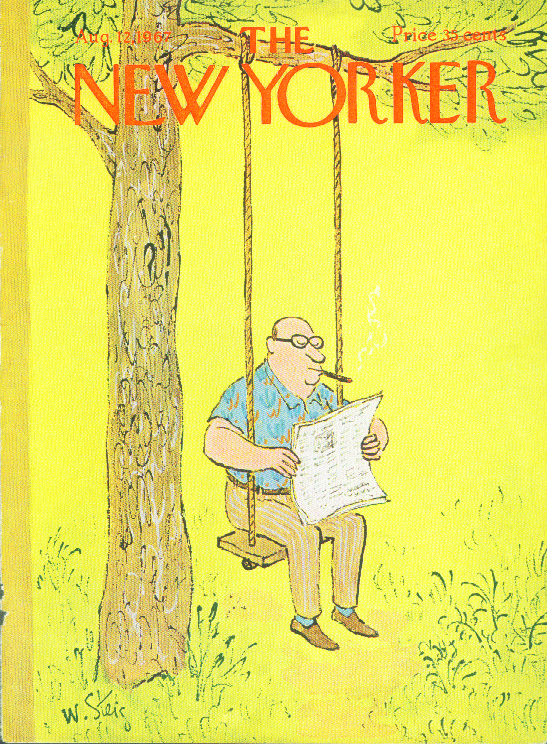 New Yorker cover Steig cigar smoker in swing 8/12 1967